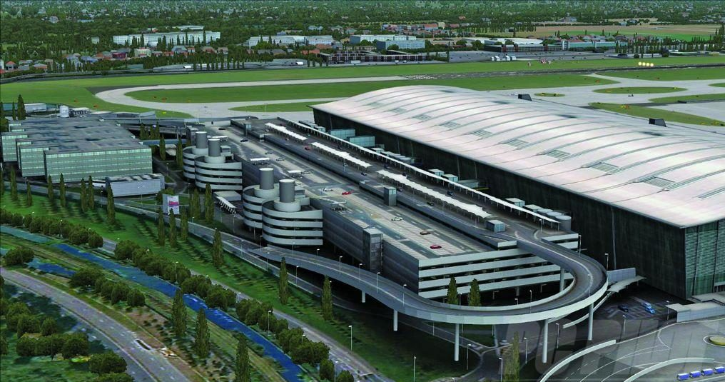 The front of Terminal 5 showing the complex road system